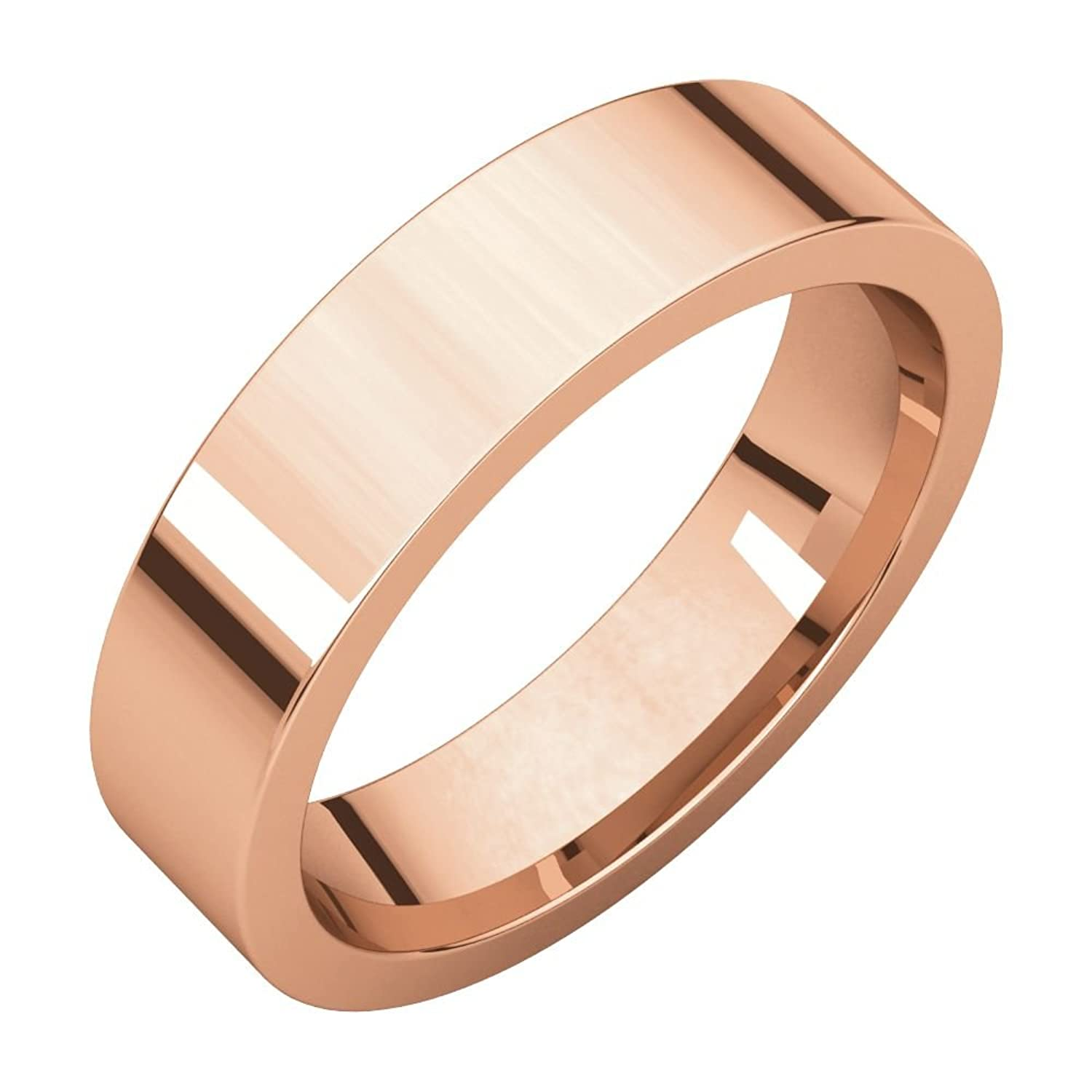 10K Rose 5mm Flat Comfort Fit Band