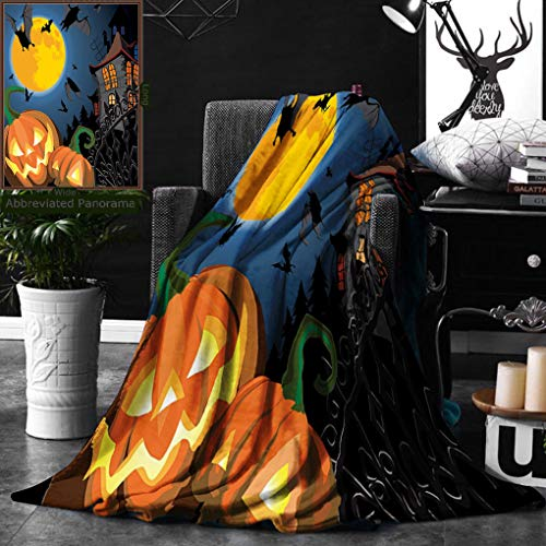 Unique Custom Digital Print Flannel Blankets Halloween Decorations Collection Gothic Scene with Halloween Haunted House Party Theme Super Soft Blanketry for Bed Couch, Twin Size 60 x 80 Inches -