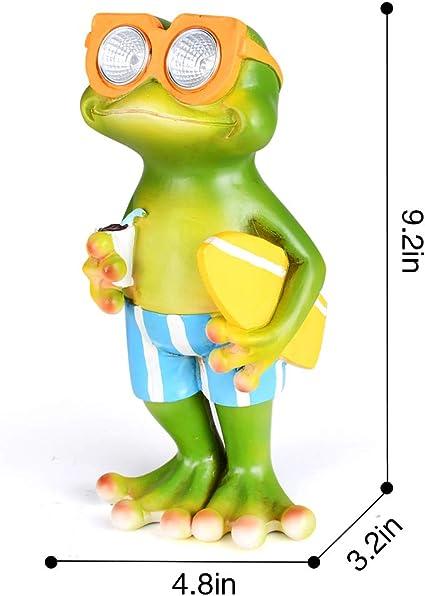 Solar Powered Frog with Surfboard Outdoor LED Garden Light Decor Bo Toys 9F3204A