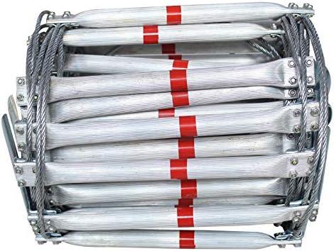 Escalera de escape de incendios de 10 m con cuerda de alambre de acero, escaleras plegables de aleación de aluminio para emergencias, herramientas de supervivencia antideslizantes: Amazon.es: Bricolaje y herramientas