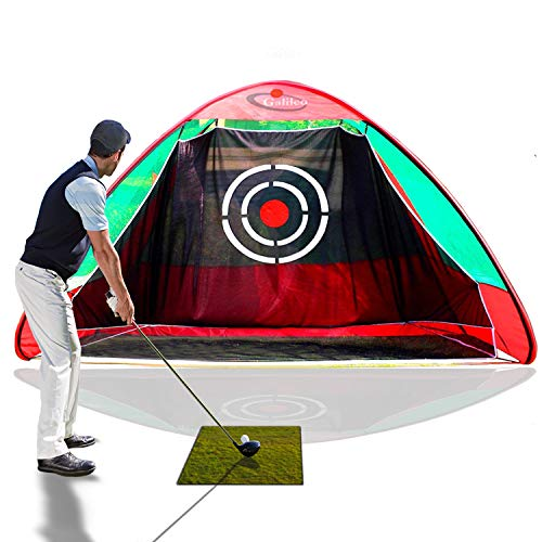 (Galileo Golf Net Practice Driving Hitting Golf Training Aids Portable Driving Range Pop Up Automatic Ball Return for Backyard Driving Indoor Outdoor with Target Carry Bag(Green&Black))