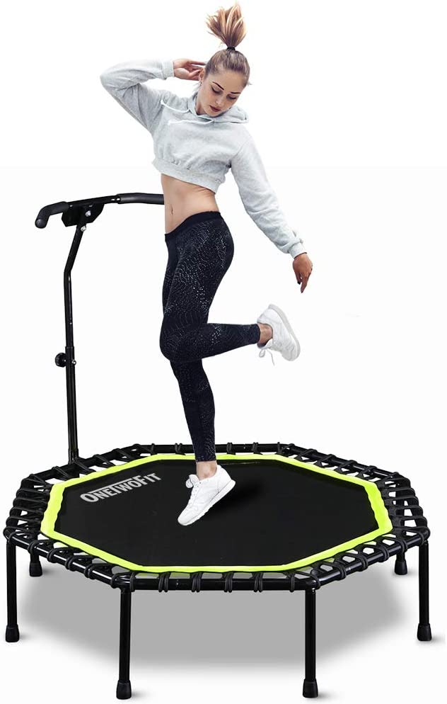 ONETWOFIT 51 Silent Trampoline with Adjustable Handle Bar, Fitness Trampoline Bungee Rebounder Jumping Cardio Trainer Workout for Adults