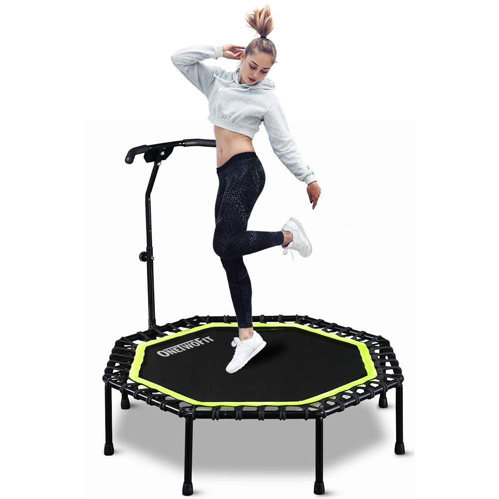 ONETWOFIT 51'' Silent Trampoline with Adjustable Handle Bar, Fitness Trampoline Bungee Rebounder Jumping Cardio Trainer Workout for Adults OT105