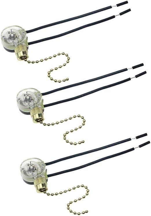 Mobestech - 3 piezas de cadena de tracción para ventilador de techo, repuesto de interruptor de cadena de encendido/apagado: Amazon.es: Iluminación