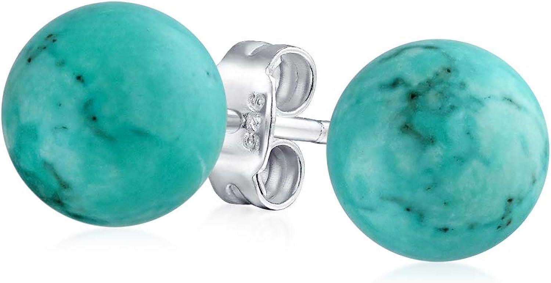Piedras Preciosa Turquesa Estabilizada Simple Balón Redondo Pendiente De Boton Para Mujer 925 Plata De Ley 925 De 8 Mm