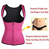 Slimming Neoprene Vest Hot Sweat Shirt Body Shapers for Smooth Muffin Top (L, Rose)