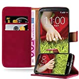 Cadorabo Book Case Works with LG G2 in Wine RED - with Magnetic Closure, Stand Function and Card Slot - Wallet Etui Cover Pouch PU Leather Flip