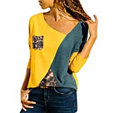 TIFENNY Plus Size Shirt for Women Asymmetric Neck Patchwork with Pocket Color Block Leopard T-Shirts Tops