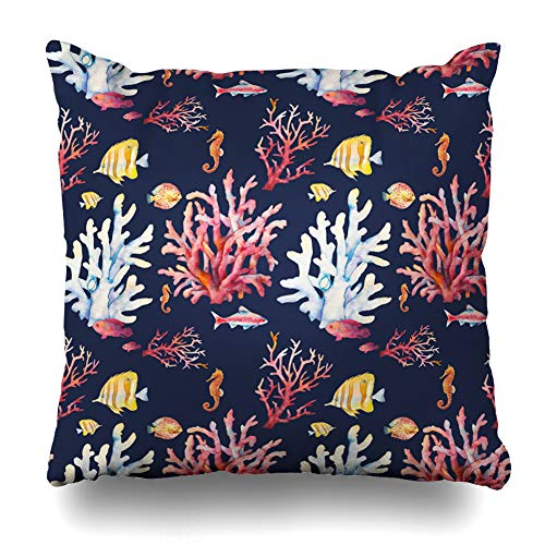 Ahawoso Throw Pillow Cover Aquarium Blue Aquatic Watercolor Coral Reef Hand Pattern Dark Sea Beach Plant Branch Design Decorative Pillow Case 18x18 Inches Square Home Decor -