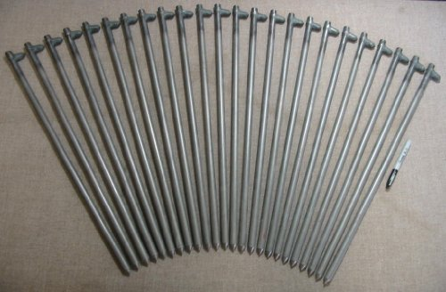 A 24 Pack of 24'' Long Steel Tent Stakes,Pegs,Spikes or Anchors by Monk Industries