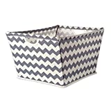 DII Collapsible Polyester Trapezoid Storage Basket, Home Organizational Solution for Office, Bedroom, Closet, & Toys (X-Large - 22x15x13'') Gray Chevron