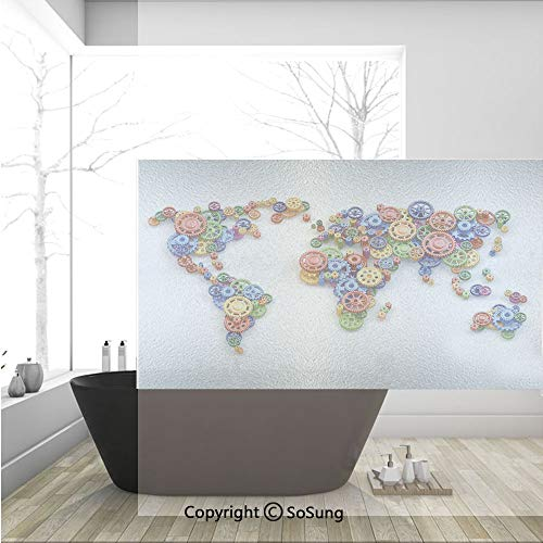3D Decorative Privacy Window Films,Map of the World Colorful Gears Design Global Economy Concept Art Print Decorative,No-Glue Self Static Cling Glass film for Home Bedroom Bathroom Kitchen Office 36x2