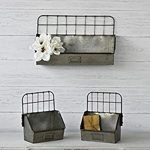 Metal Shelf Bin, Set of 3, Old Factory Style | (Sitting, Hanging, Galvanized, Industrial)