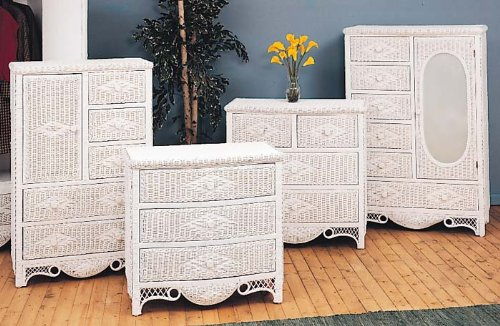 Wicker Charlotte 5 Drawer Dresser w/ Door (Natural)