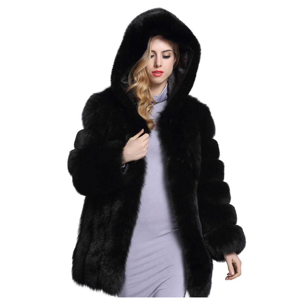 BBTshop Women Coats Jacket Fashion Faux Fur Overcoat Blouses Open Front Tops Hooded Sweater Winter Long Sleeve Trench Outwear Sweatshirt Ladies Trench Thickened Suit Blazer Tailcoat Shirt by BBTshop