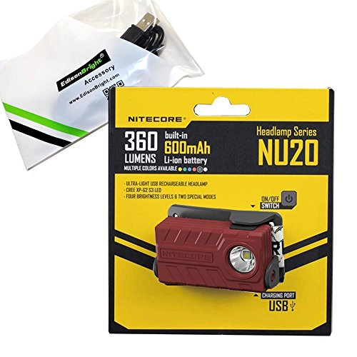 Nitecore NU20 360 Lumen USB rechargeable compact LED headlamp/worklight and EdisonBright brand USB charging cable bundle (Red)
