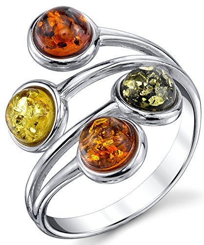 Sterling Silver Baltic Amber Ring with Multi Color Cabochon, Cherry Honey Olive and Cognac 8