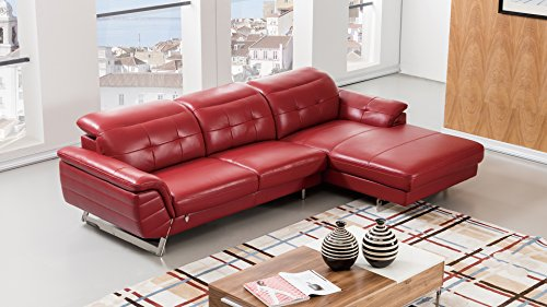 (American Eagle Furniture EK-L085L-RED Kentucky Modern Italian Leather Right Facing Sectional, 114