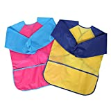 Honbay 2pcs Double Color Waterproof Children Kids Art Smock Aprons, Long Sleeve with 3 Roomy Pockets, Painting Supplies