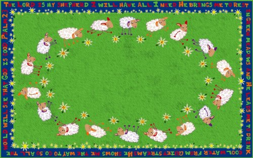 Kid Carpet FE769-22A Little Lambs Of God Nylon Area Rug, 4' x 6', Multicolored (Little Children Rug)