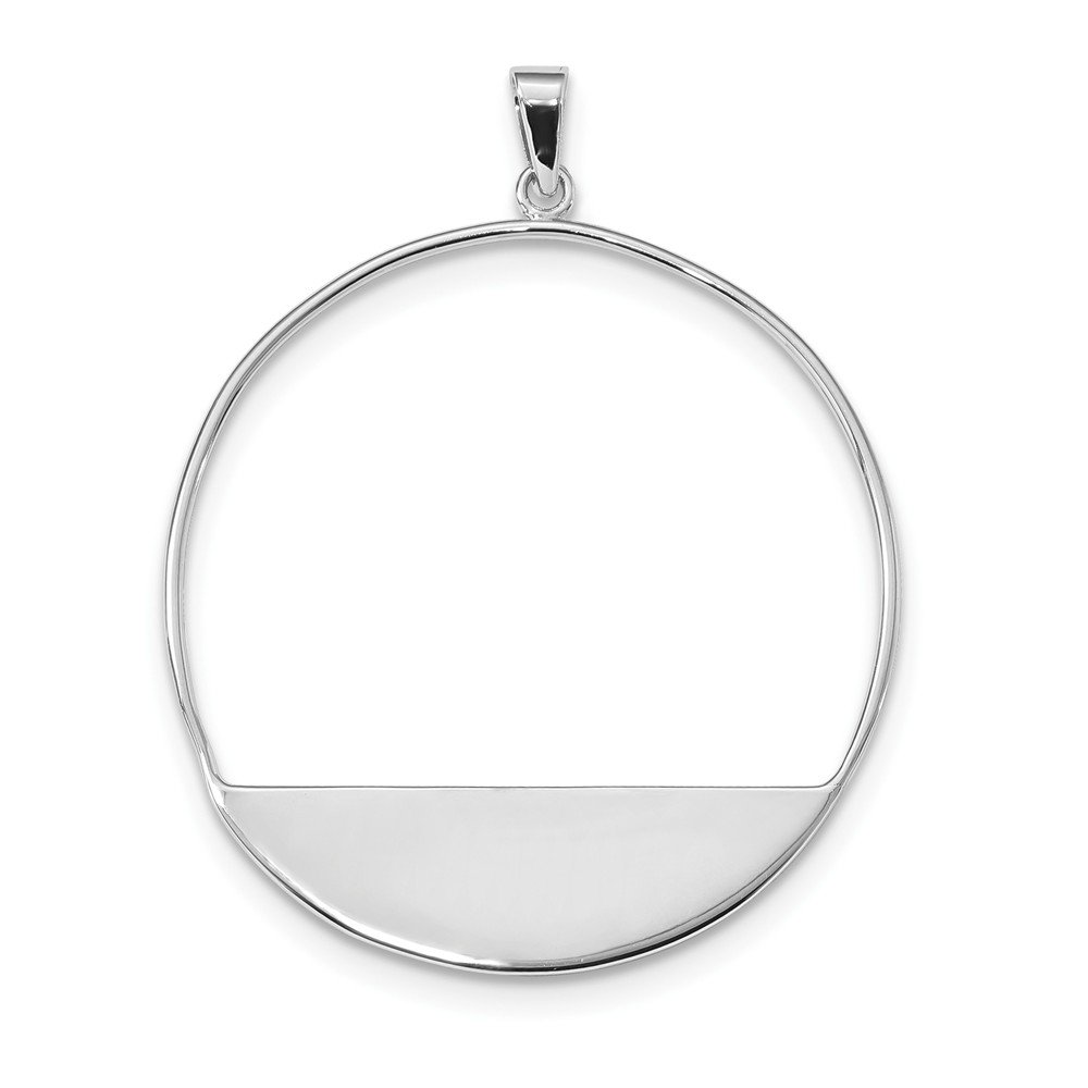 Jewel Tie Sterling Silver Polished Round Pendant 40mm x 50mm