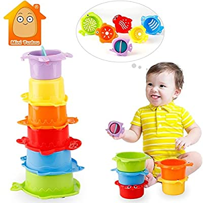 SUNMART USA Kids Toy Baby Stacking Cups Funny Toys for Boy Girl Kid Baby Rainbow Tower Ring Stacking Stack Up Nest Children Education: Toys & Games