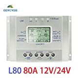 OOYCYOO 80A Solar Charge Controller, Solar Panel Regulator with Load Timer, 12V 24V Auto with LCD Display USB 5V 1500mA and Usd for Control Landscape Lights and Water Features(L80A)