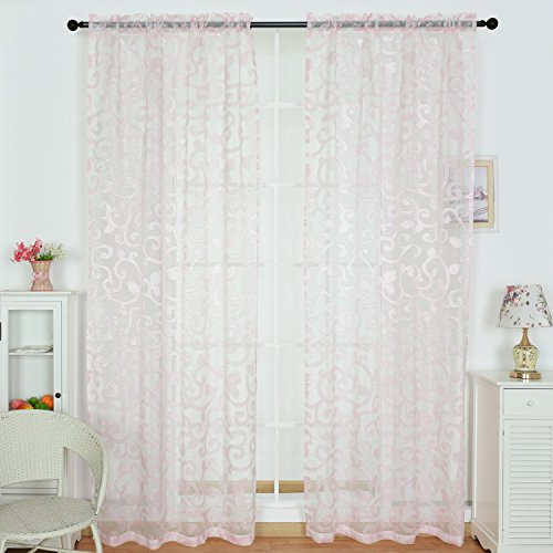 Leahjoe 2 Pieces Beautiful Sheer Curtains/drape/panels 52-Inch by 95-Inch