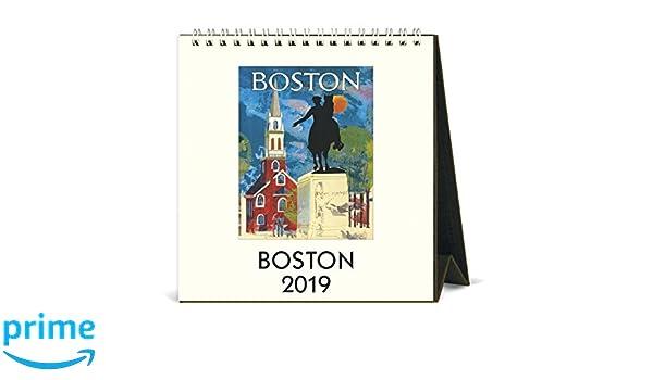 Christmas In Boston 2019.Amazon Com Cavallini Papers Co 2019 Boston Desk Calendar