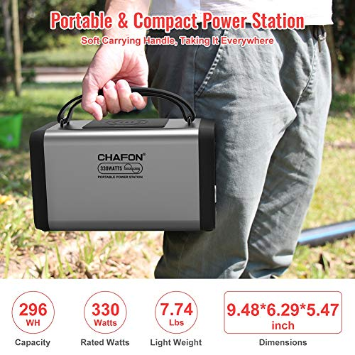 CHAFON Portable Power Station CF290,296WH Lithium Battery Backup,110V/330W Pure Sine Wave AC Outlet,Solar Generator for Outdoors Camping,Road Trips,Emergency(Space Grey)