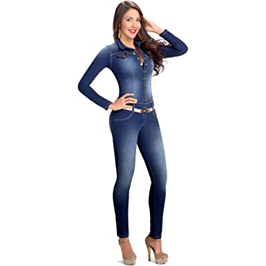 Lowla Fashion Shapewear Long Sleeve Denim Jumpsuit for Women with Compression Enterizos Colombianos Largos con Faja