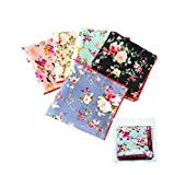 Gift Set-Pack of 5 Mens Chic Floral Cotton Pocket Square Suits Hankies
