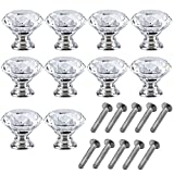 Mosong 10pcs 30mm Glass Clear Cabinet Knob Drawer Pull Handle Kitchen Door Wardrobe Hardware Used for Cabinet, Drawer, Chest, Bin, Dresser, Cupboard, Etc (Clear--Version 2)