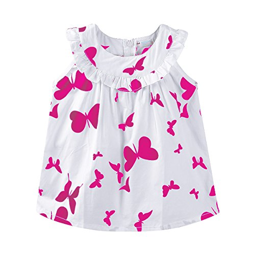Mud Kingdom Toddler Girls Dresses 4T Butterfly Sleevelss Rose Red