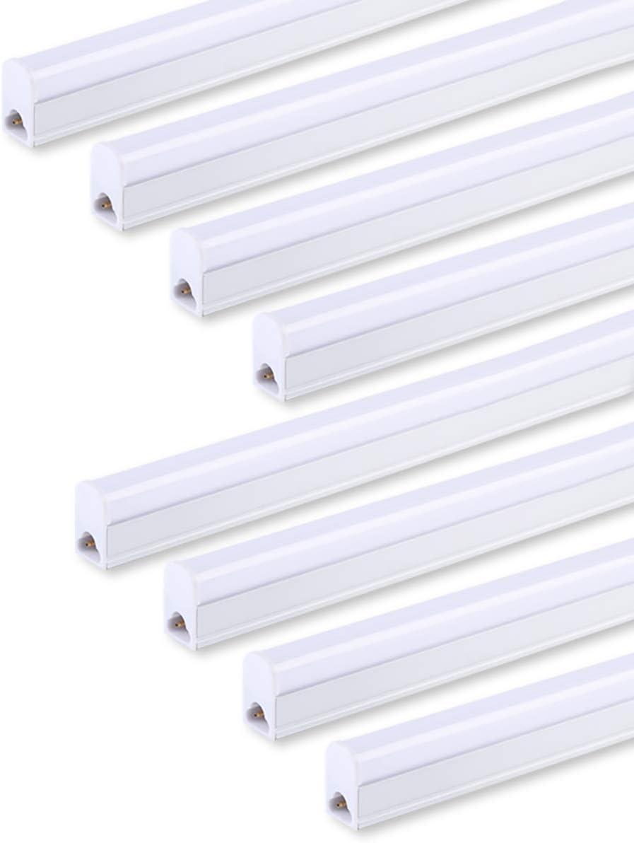 (Pack von 8) geführt T5 Integrated Single Fixture 4Ft,20W,2200Lm,6500K (Super Bright White),Utility geführt Geschäft Light, geführt Ceiling Licht und unter Cabinet Light, Corded Electric mit Built-bei On/aus Switch