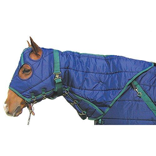 High Spirit Snuggie Quilted Hood, Medium, Blue/Hunter Green (Horse Hoods)