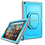 Fintie Case for All-New Amazon Fire HD 10 (7th and 9th Generations, 2017 and 2019 Releases) - [Tuatara Magic Ring] 360 Rotating Multi-Functional Grip Carry Cover w/Built-in Screen Protector, Blue