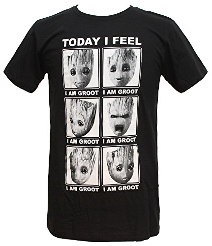 Marvel Guardians Of The Galaxy 2 Face Of Groot I Feel T Shirt  Xl  Black