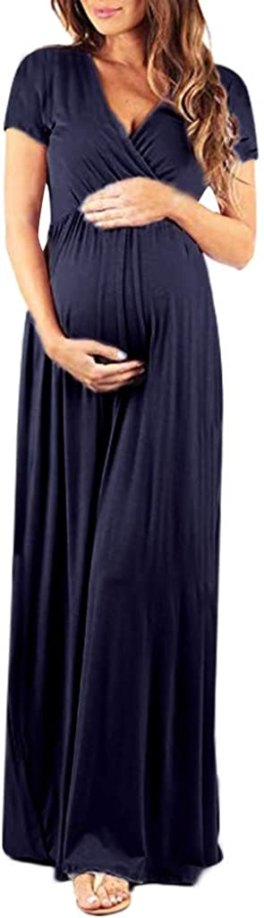 FRAUIT Abiti Premaman Estivi Lunghi Cerimonia Vestiti Gravidanza Donna Estivo Eleganti Abbigliamento Foto Abito Fotografia Abito Manica Corta Allattamento Elegante Maternity Dress Lungo