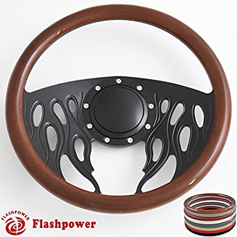 Flashpower 14 Billet Half Wrap 9 Bolts Steering Wheel with 2 Dish and Horn Button Red