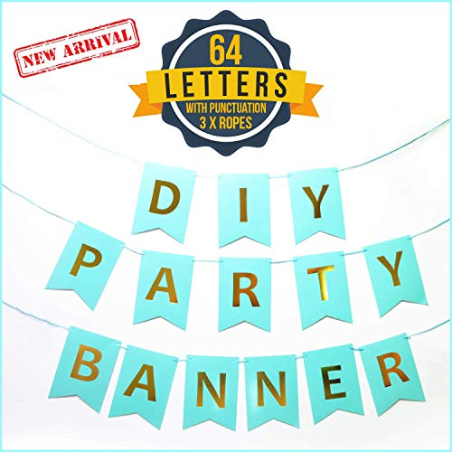 DIY Party Banner Letter Set w/Punctuation (64-Piece Kit) Reusable, Gold and Turquoise Lettering | Custom Signs for Birthday Parties, Wedding, Bachelorette, Holidays, Events -