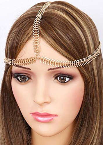 Hypnotique Gold-tone Rhinestone Crystals Bridal Head Chain Wedding Hair Accessories Indian Costume Jewelry Egyptian Headband Belly Dance or 1920s Fashion Style Party Headpiece for Women (Medusa)