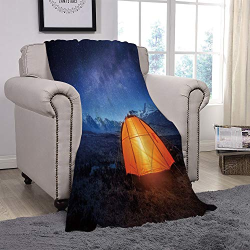 - YOLIYANA Light Weight Fleece Throw Blanket/Night,Camping Tent Under a Night Sky Full of Stars Holiday Adventure Exploring Outdoors,Blue Orange/for Couch Bed Sofa for Adults Teen Girls Boys