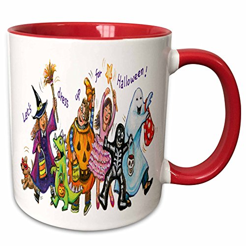 (3dRose Anne Marie Baugh - Halloween - Cute Illustration Of Halloween Trick Or Treaters - 15oz Two-Tone Red Mug)