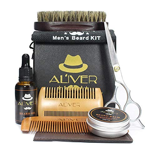Price comparison product image Beard Brush and Comb Set,  [USA ALIVER] 8 In 1 Boar Bristle Beard Brush & Wood Mustache Comb / Oil / Balm / Scissors / Storage Bag for Men Grooming Styling Shaping Gift Box Kit