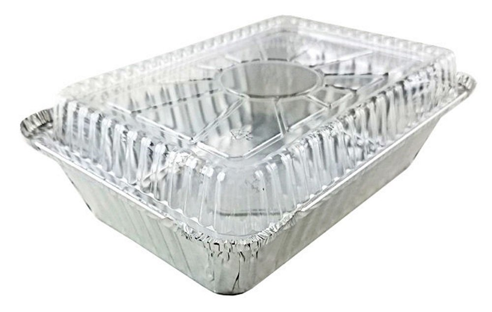 Pactogo 2 1/4 lb. Oblong Deep Aluminum Foil Take-Out Pan with Clear Plastic Dome Disposable Containers 8.44'' x 5.94'' x 1.81'' (Pack of 50 Sets)