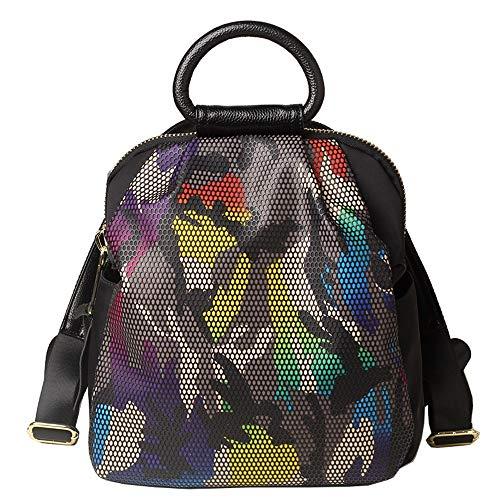 Sac à dos pour femme - Sac imperméable pour femme Sac de voyage Camouflage Imprimé Oxford Tissu Wild Fashion Grande Capacité Multifonction Noir