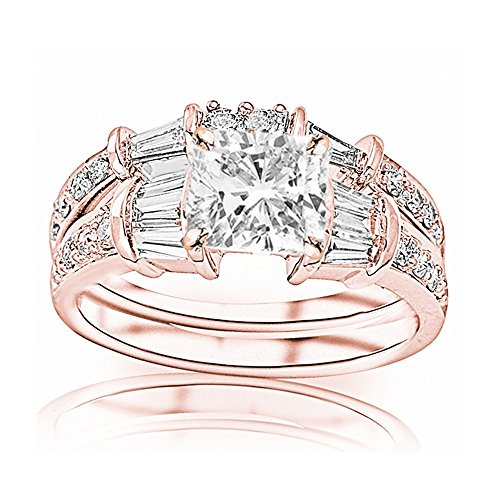 Round Diamond Band Brilliant Baguette (1.33 Cttw 14K Rose Gold Cushion Cut Baguette And Round Brilliant Diamond Engagement Ring and Wedding Band Set with a 0.5 Carat I-J Color I1 Clarity Center)