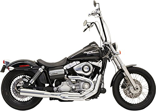 Harley Davidson Street Rod Exhaust - Bassani Xhaust Manufacturing Road Rage II B1 Power Exhaust System with Heat Shields - Chrome with Black End Cap , Color: Chrome