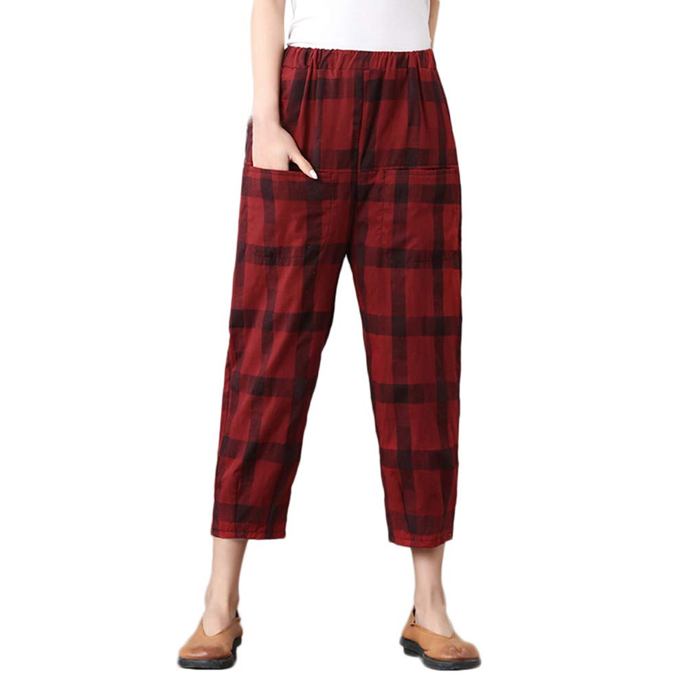 Farjing Pants Clearance Sale Womens Cotton and Linen Plus Size Lattice Easy Haren Pants Ninth Pants(L,Red